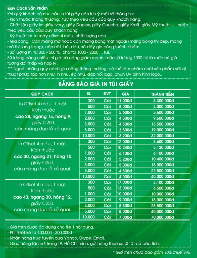 bảng báo giá in ấn túi giấy
