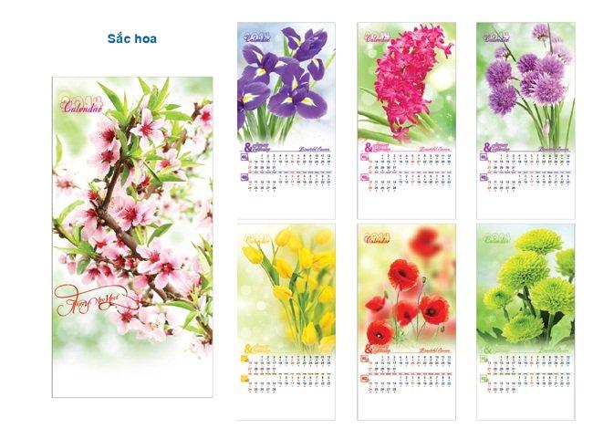 Mẫu in lịch tết họa tiết hoa lá