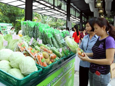 bày bán rau sạch
