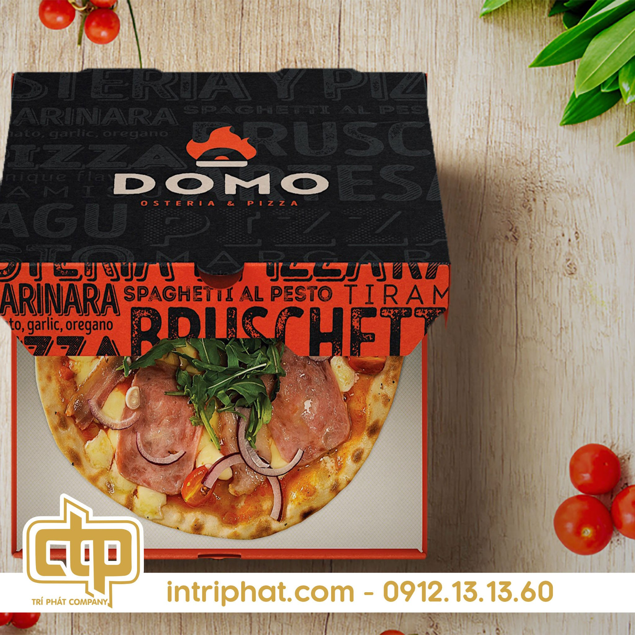in hộp bánh pizza