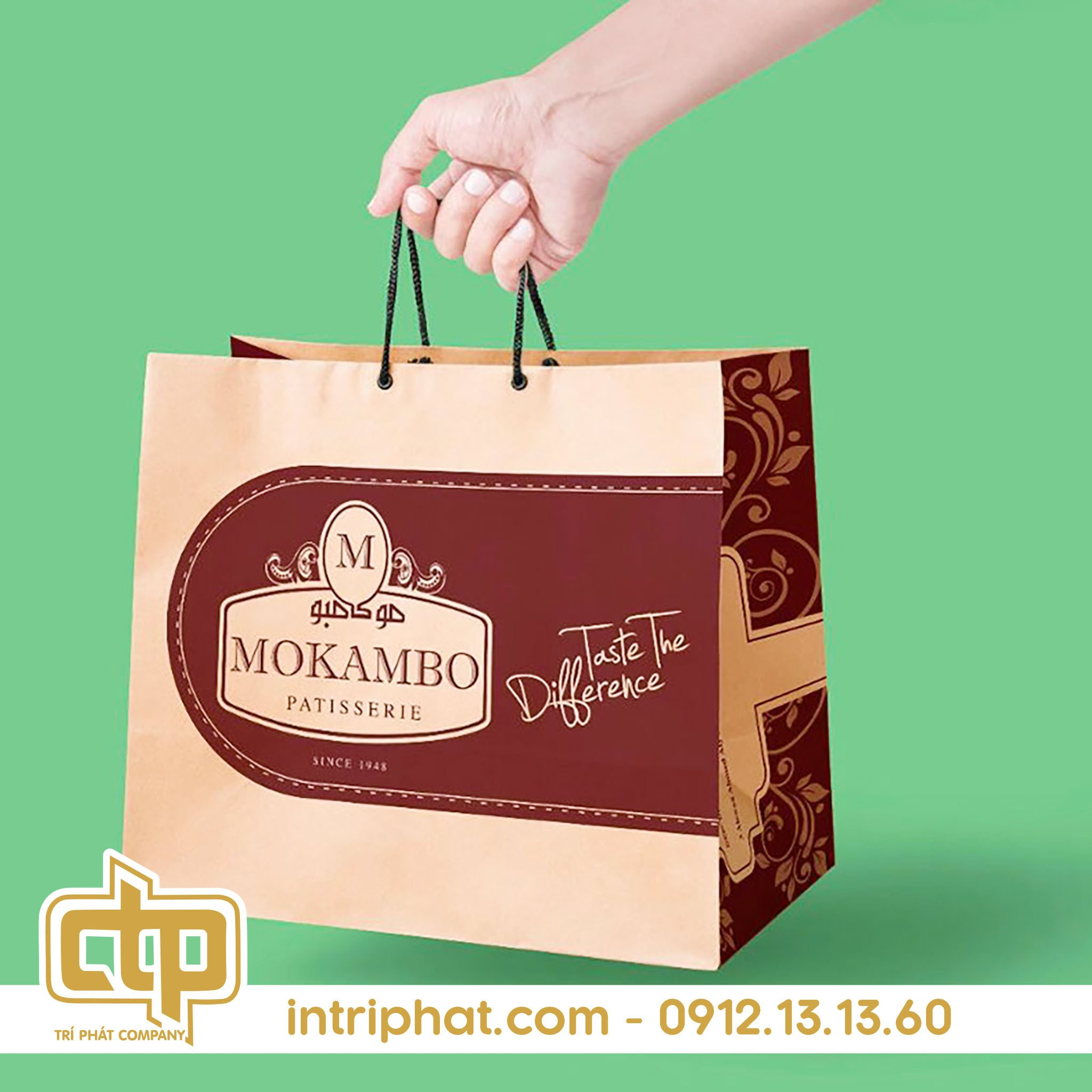in túi giấy kraft có quai cho shop thời trang hcm