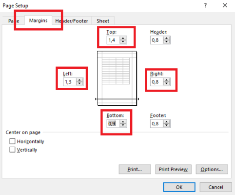 cách in hết khổ giấy A4 trong excel