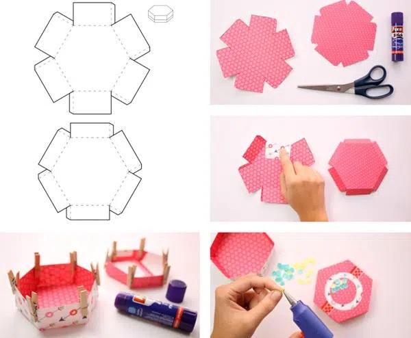 Cách xếp hộp giấy lục giác đẹp